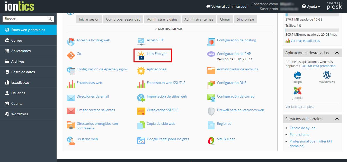 Activar Certificado SSL Let´s Encrypt en hosting