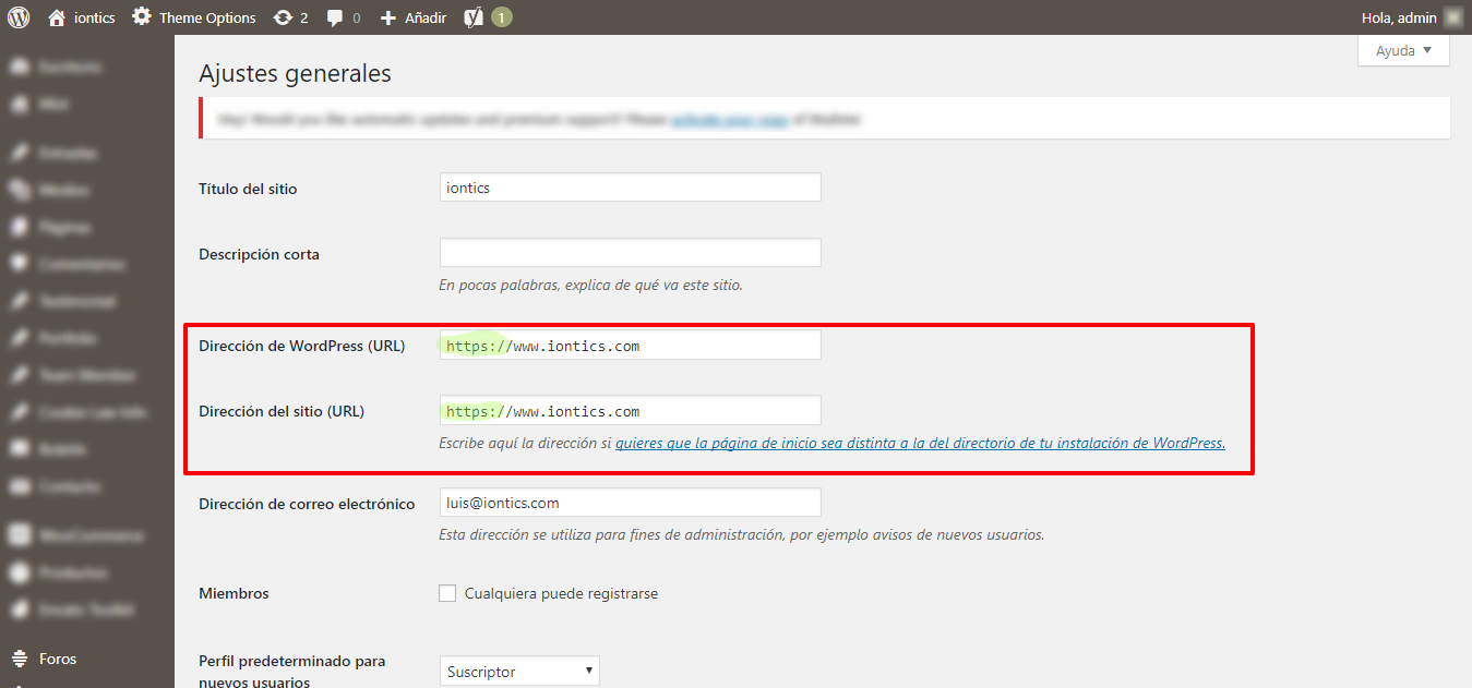 Activar https en wordpress