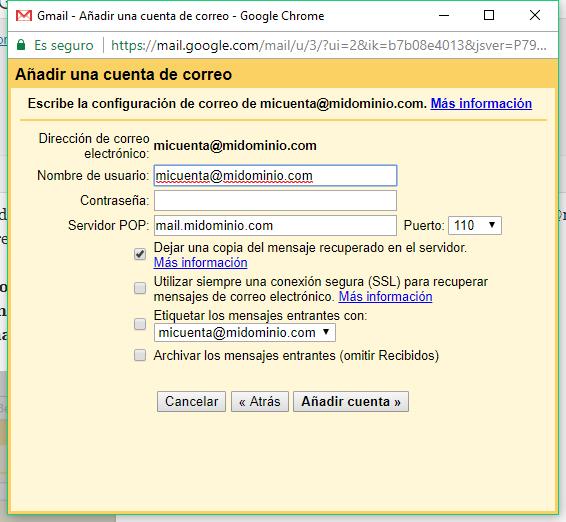 Añadir una cuenta de correo a Gmail - Paso 3