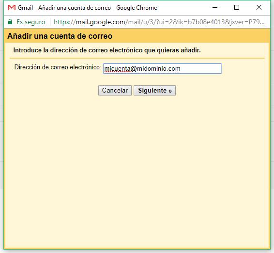 Añadir una cuenta de correo a Gmail - Paso 1