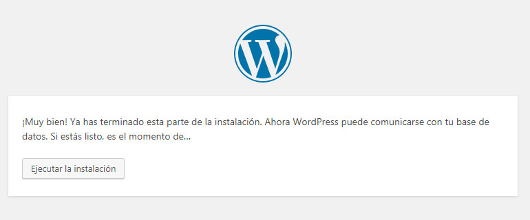 Configurar con éxito base de datos en WordPress