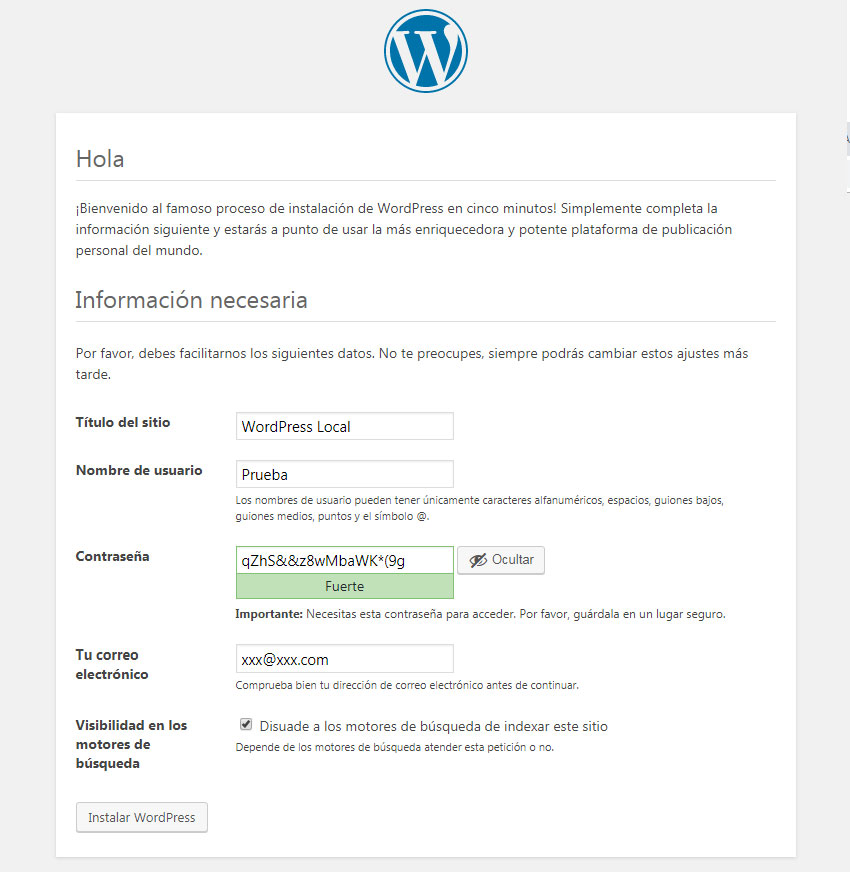 Pantalla de instalación de WordPress local