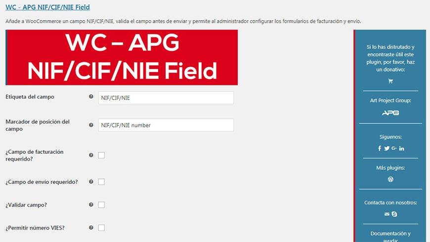 Configuración plugin NIF WooCommerce