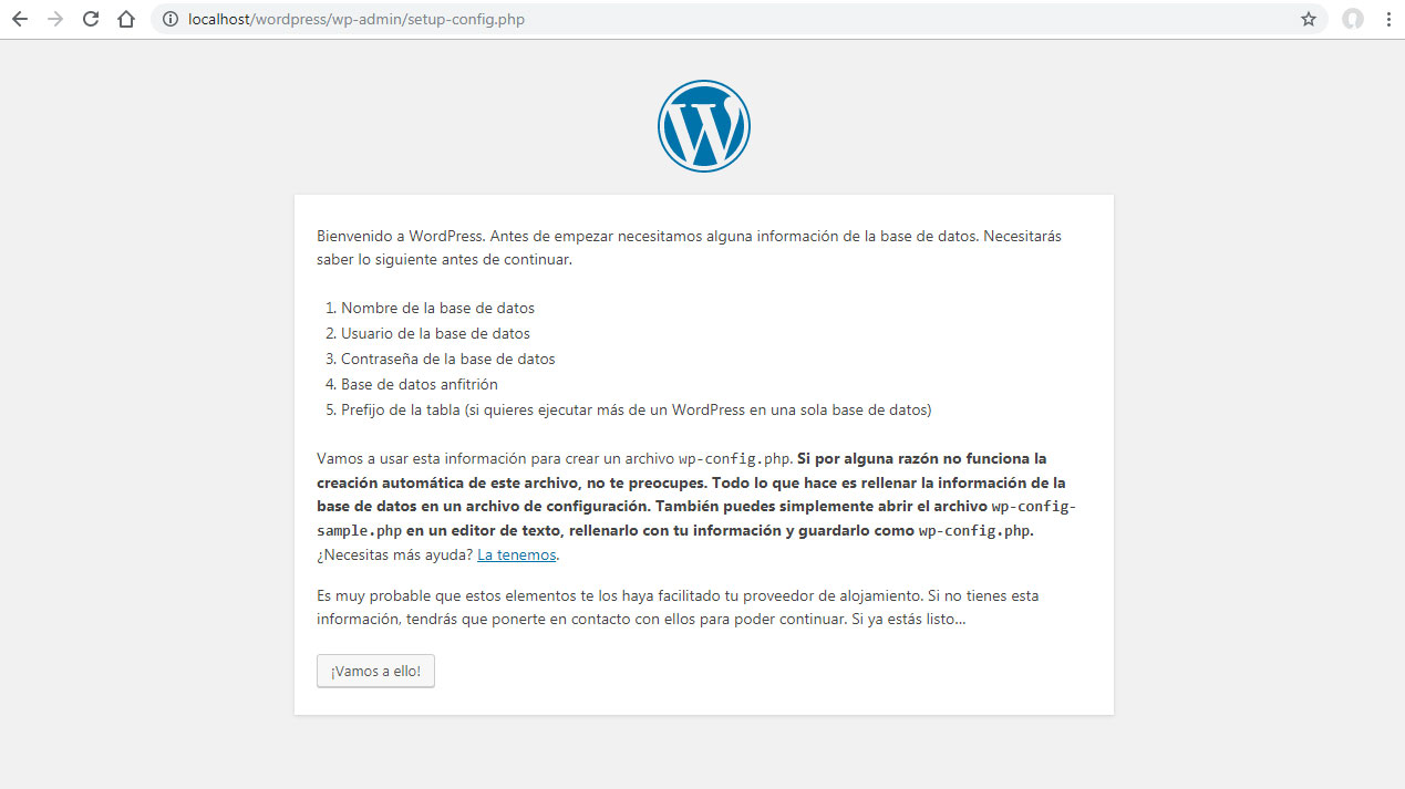 Pantalla principal de instalación local de WordPress