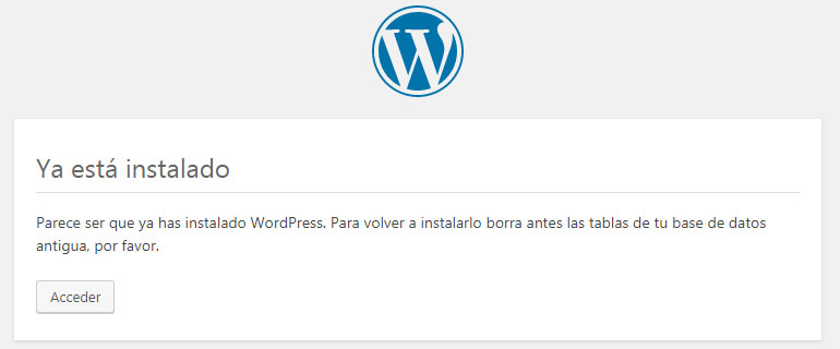 Pantalla de instalación local de WordPress