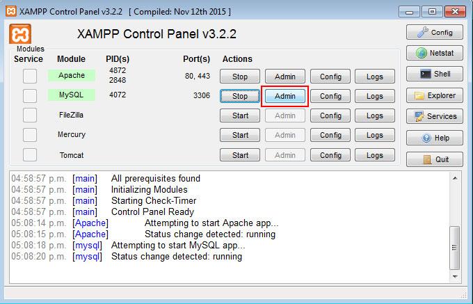 Panel de control XAMPP Admin MySQL