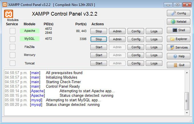 Panel de control XAMPP servicios corriendo