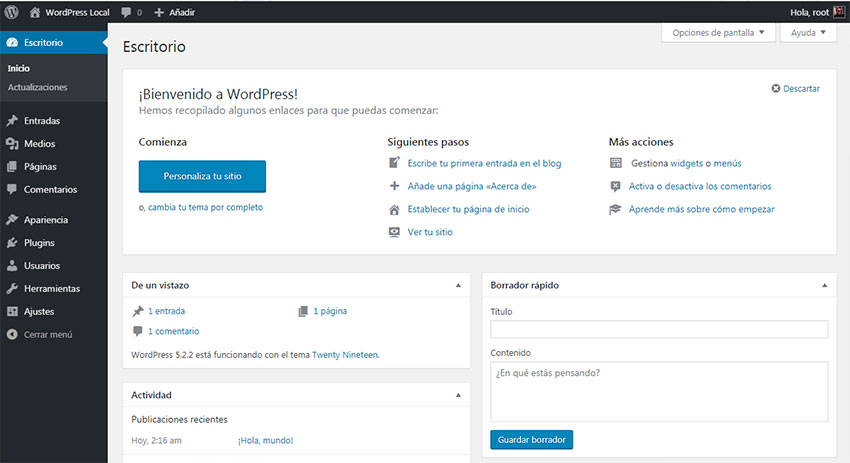 Menú administrador de WordPress local